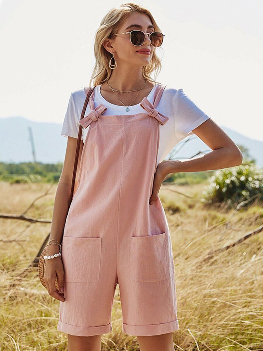 shestar wholesale Rolled Hem Bowtie Pink Romper