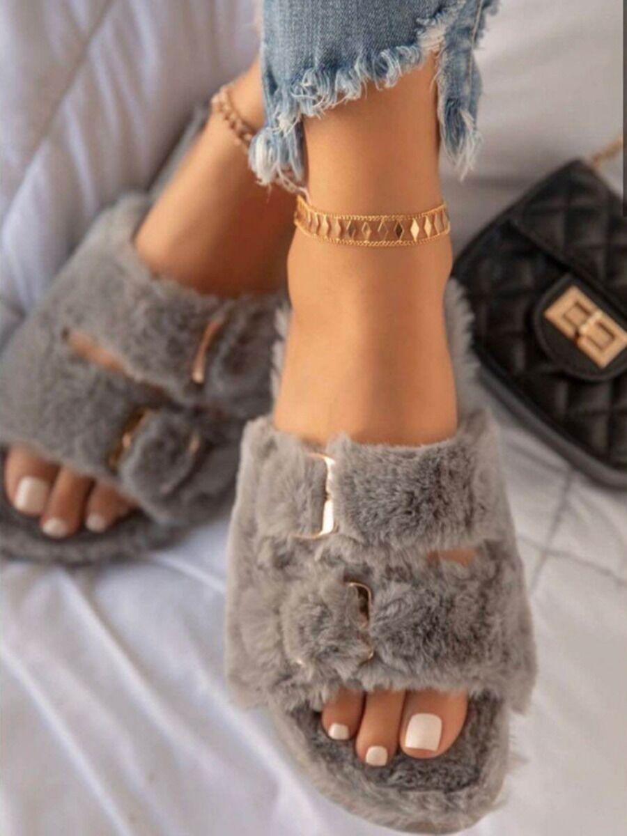 shestar wholesale Women Buckle Decor Plush Slippers