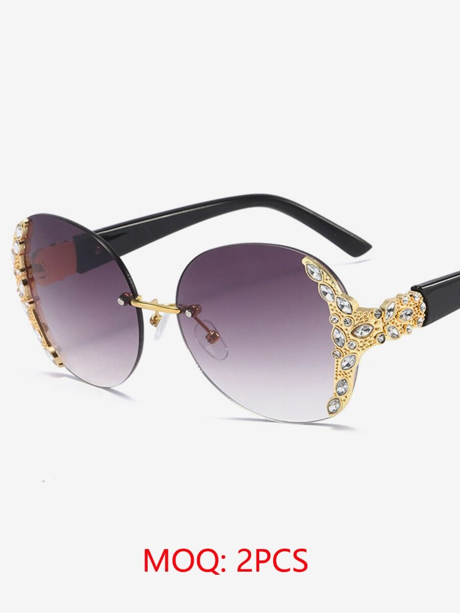 shestar wholesale womens accessories Rimless Rhinestone Trimmed Sunglasses