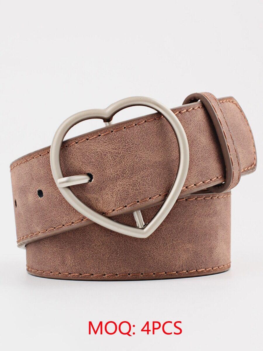 shestar wholesale womens accessories Heart Buckle Faux Leather Belt