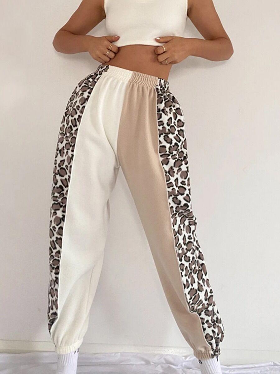 shestar wholesale womens clothing Color-block Leopard Panel Jogger Pants