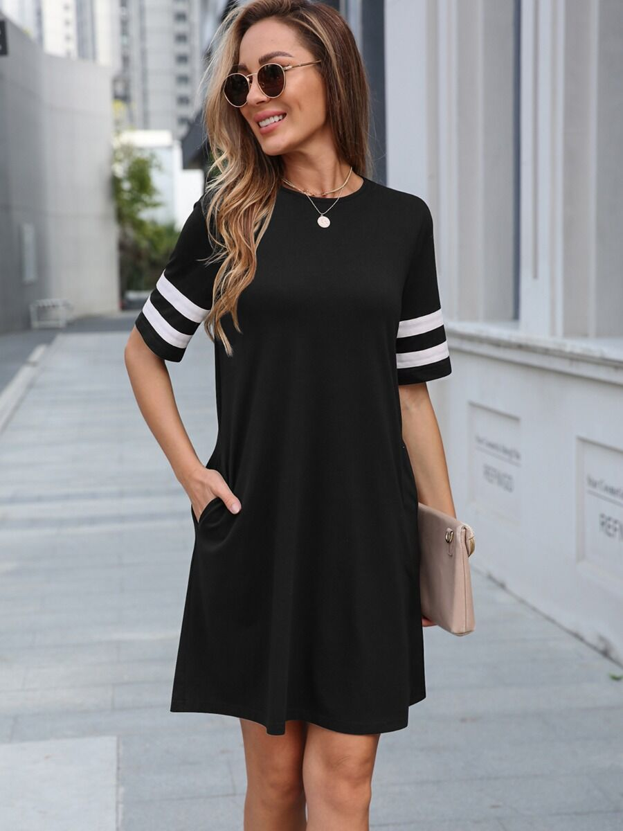 shestar wholesale Stripe Sleeve Pocket Smock Dress