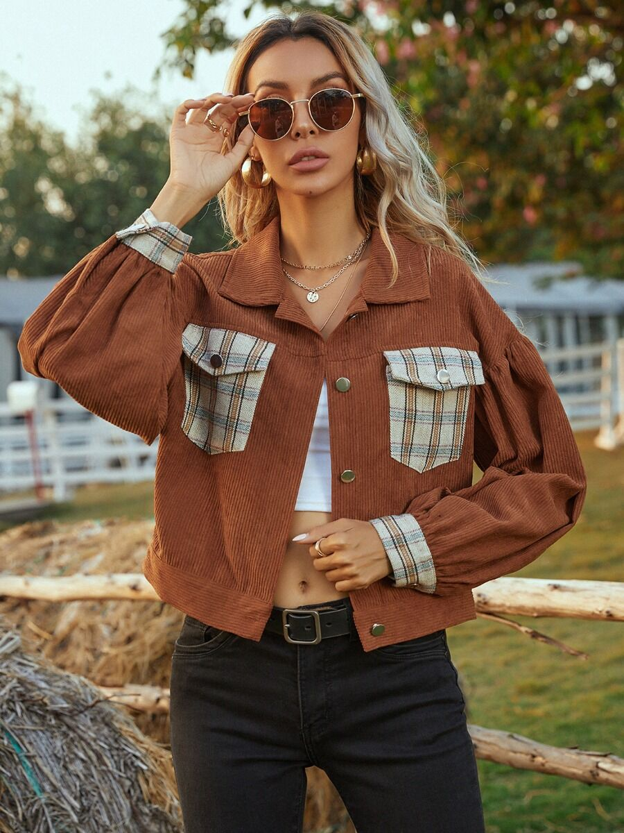 shestar wholesale Lapel Collar Plaid Detail Corduroy Jacket