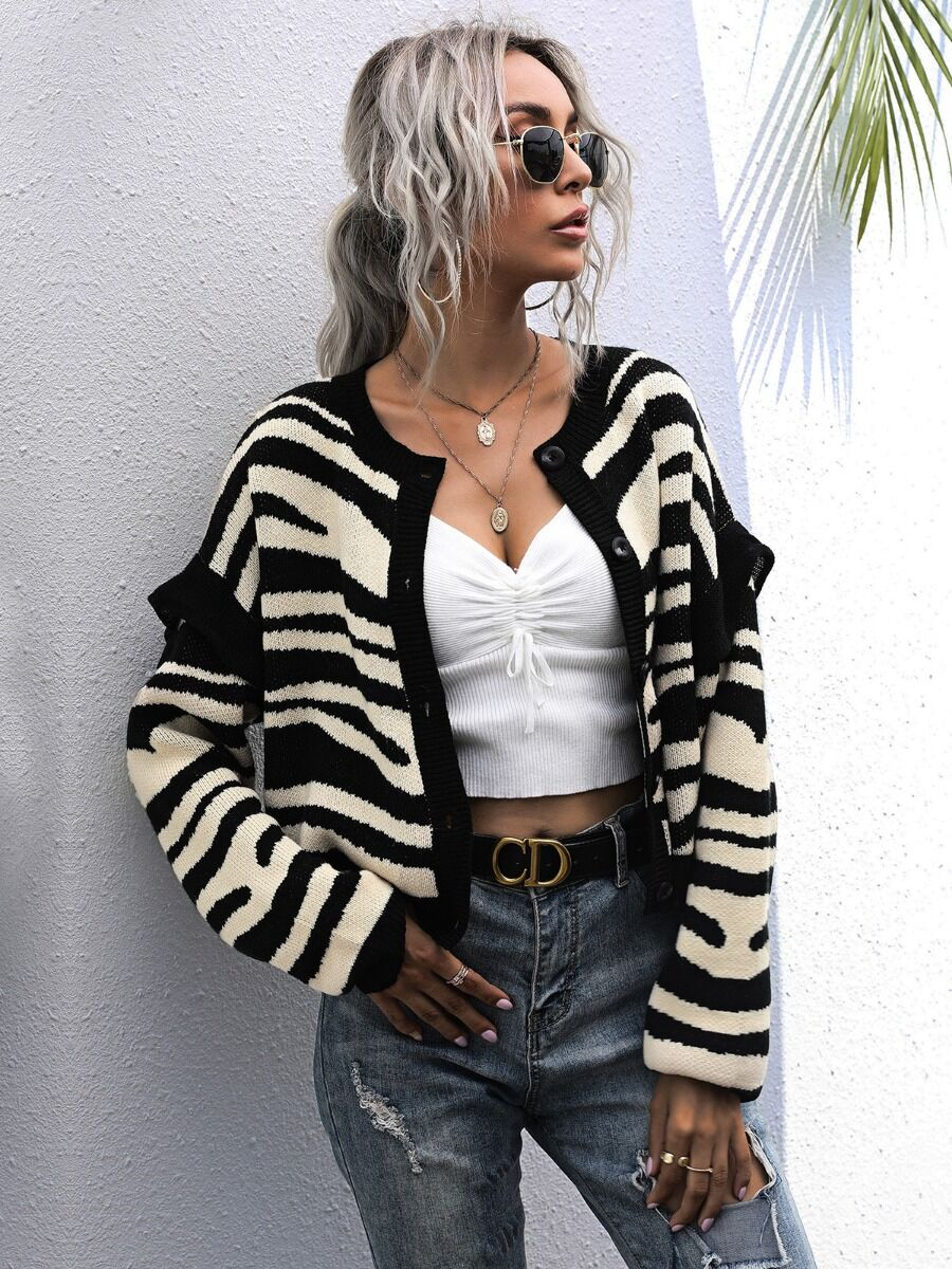 Zebra Stripe Knitted Sweater Cardigan