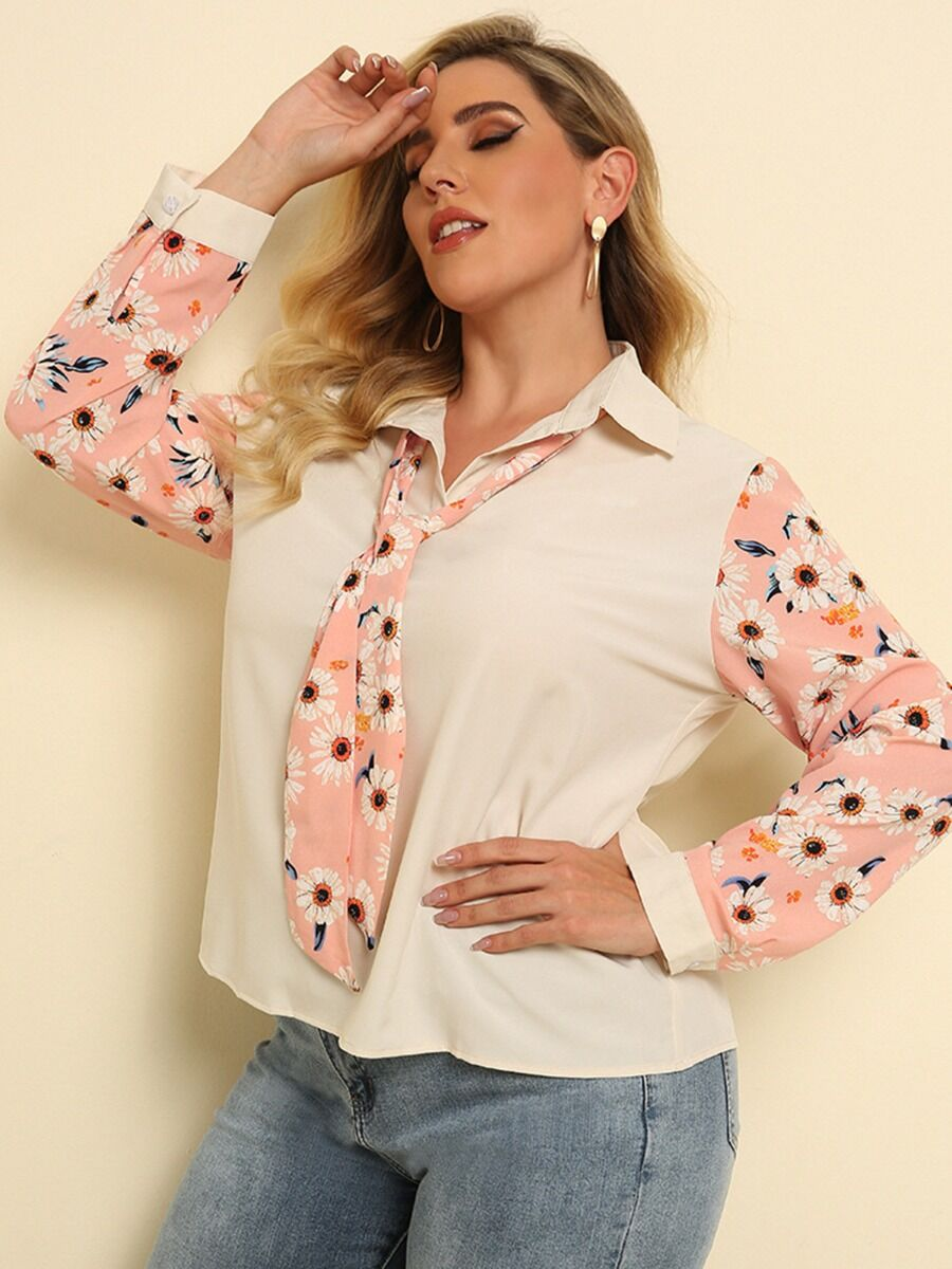 shestar wholesale Plus Size Bowtie Neck Daisy Print Shirt