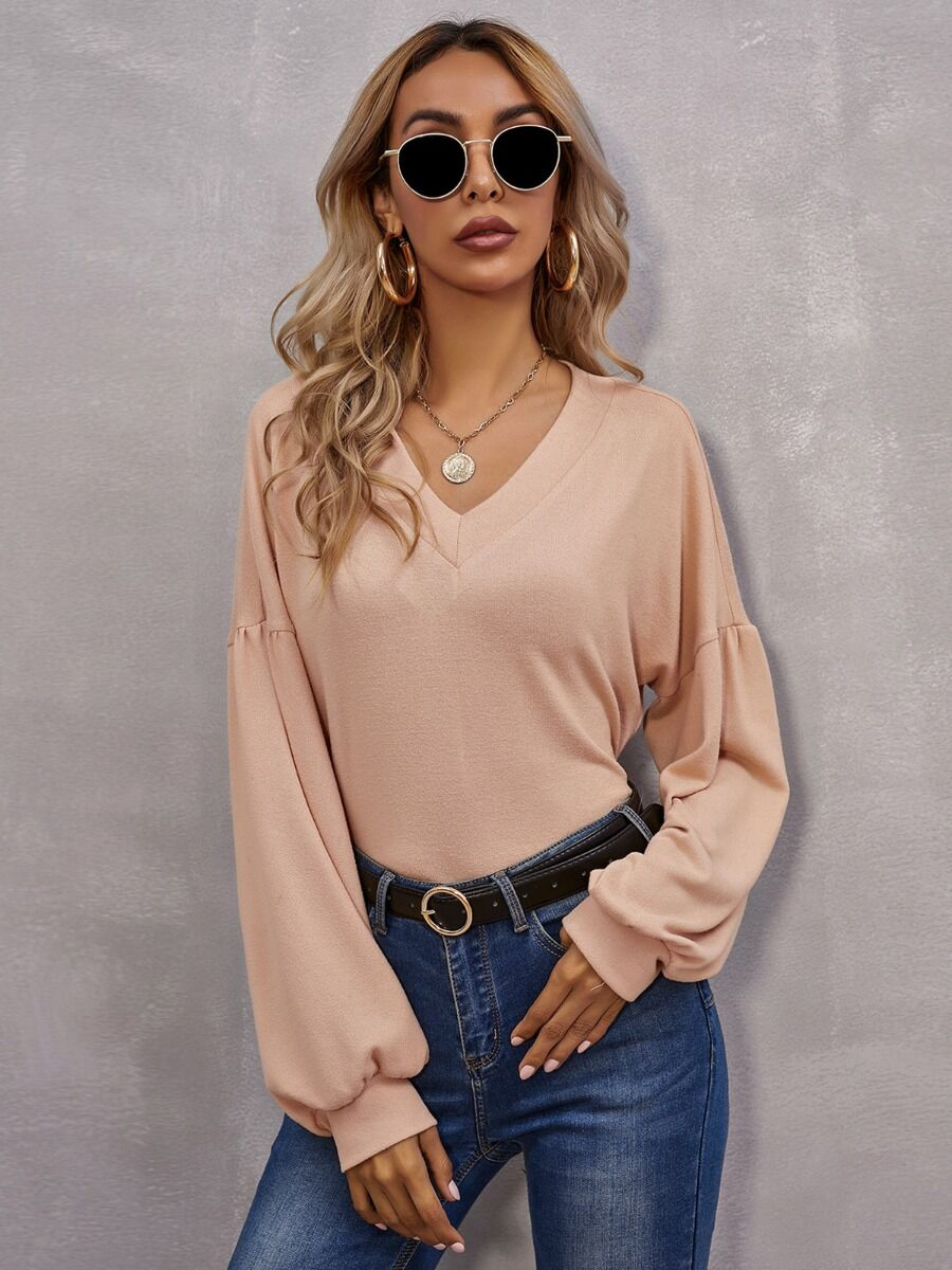 shestar wholesale V-neck Lantern Sleeve Solid Blouse