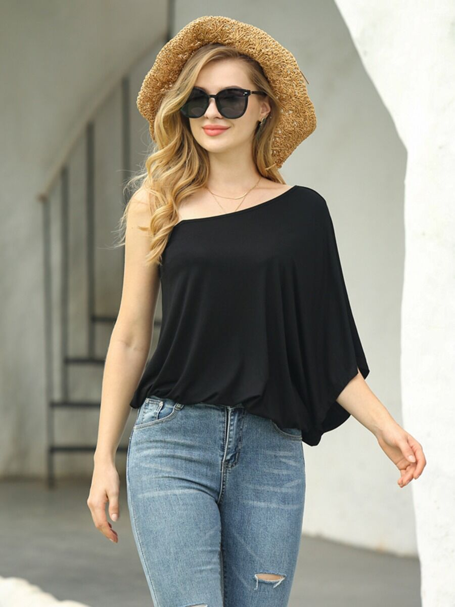 shestar wholesale One Shoulder Batwing Sleeve Black Smock Top