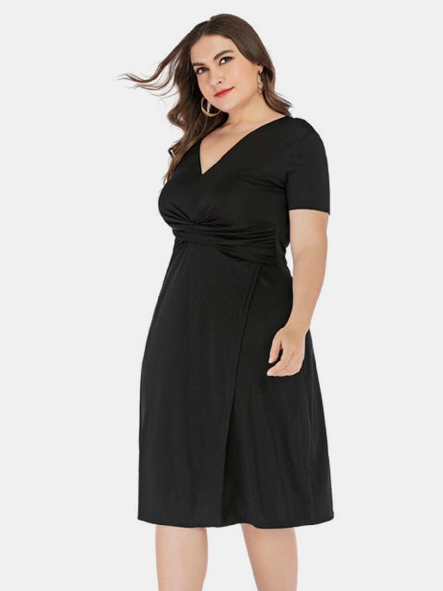 shestar wholesale plus size v-neck twisted split dress