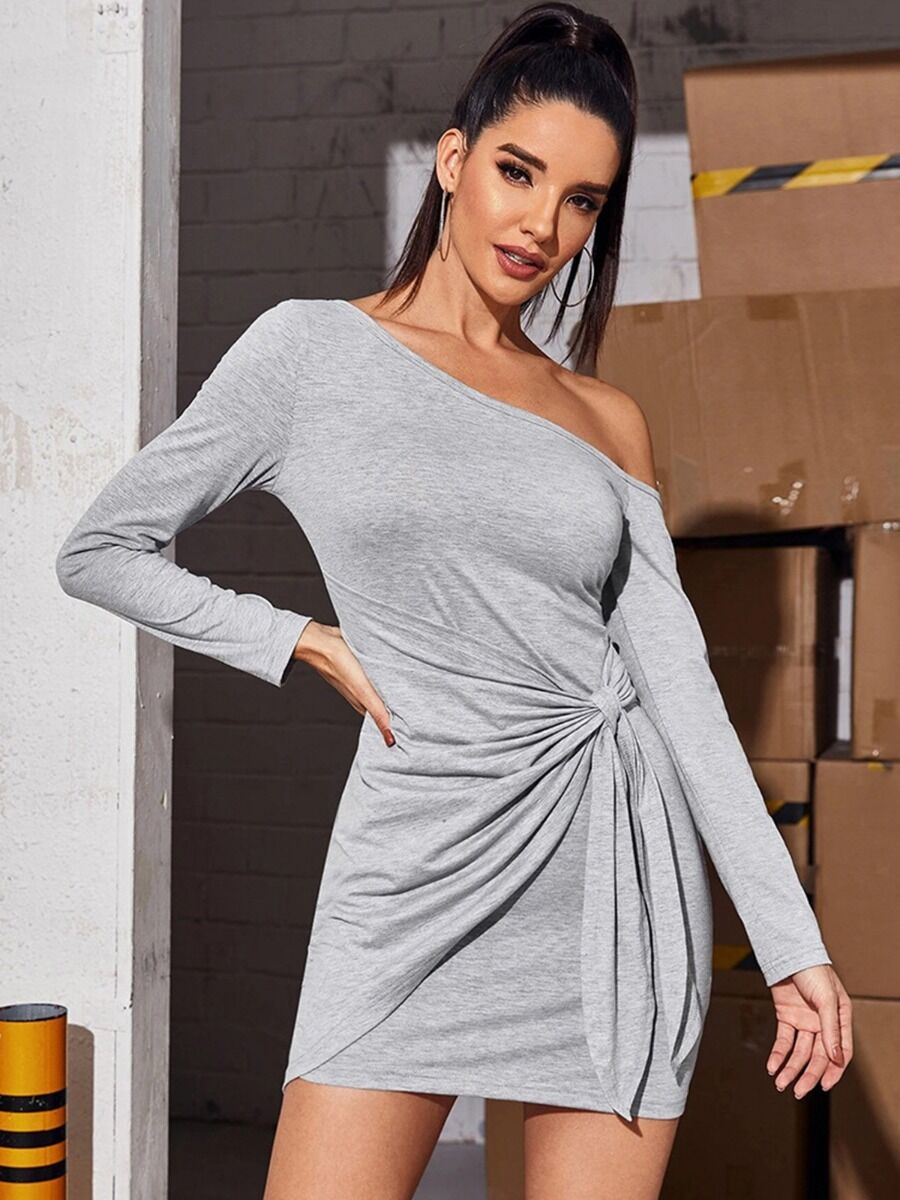 shestar wholesale Sloping Shoulder Knotted Grey Dress