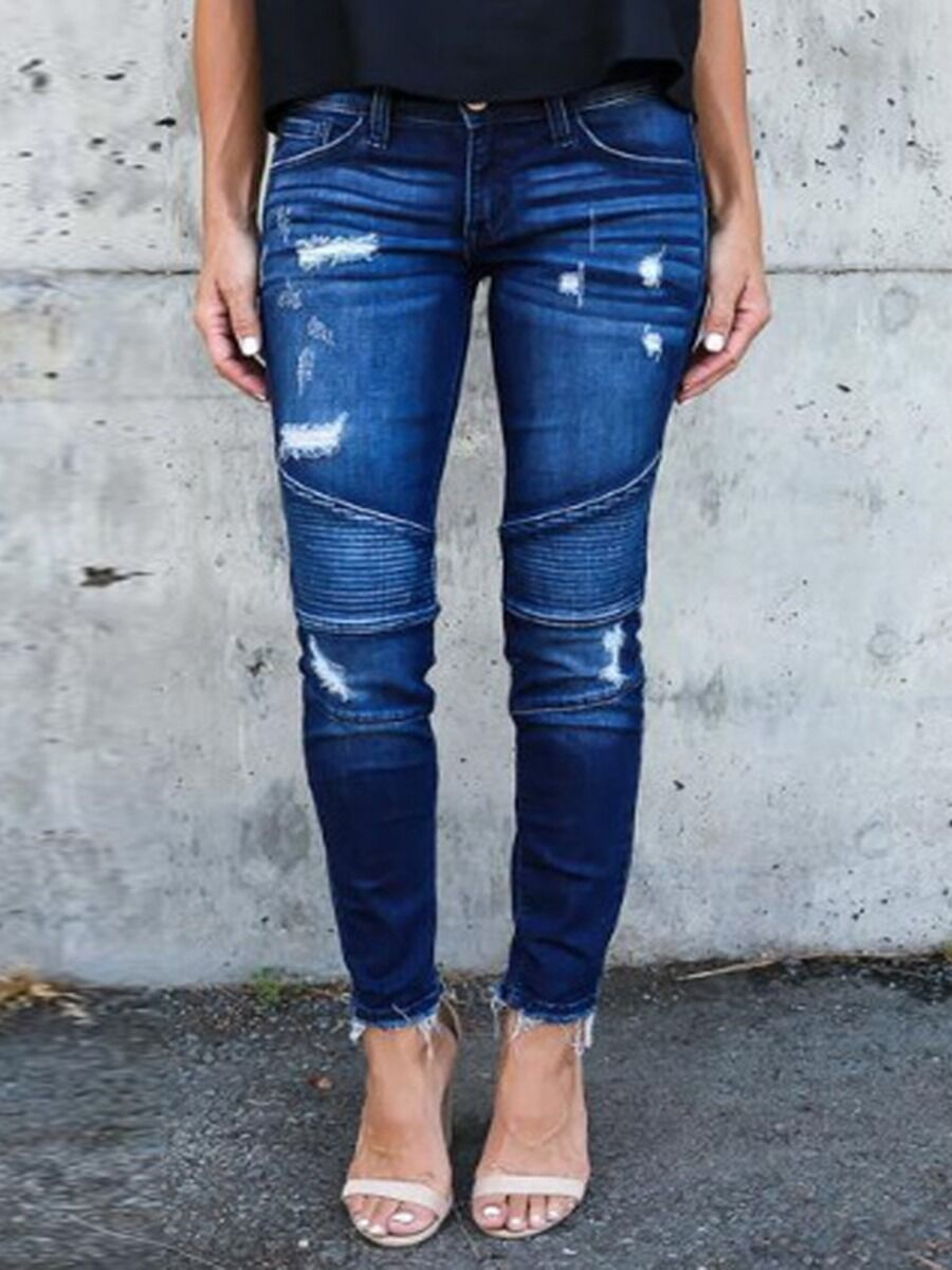 Fringe Hem Ruched Detail Skinny Ripped Jeans