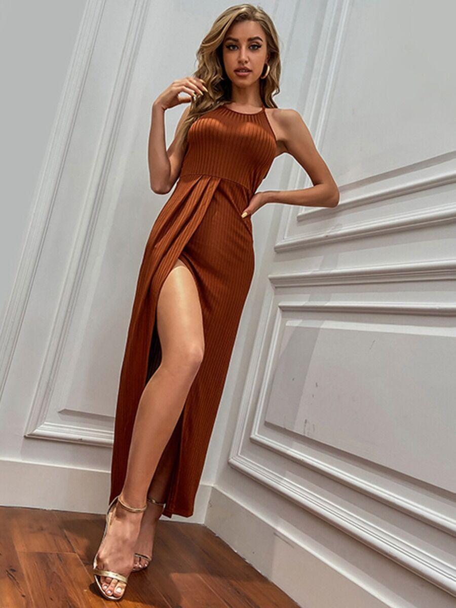 shestar wholesale Sleeveless Split Hem Ribbed Halter Dress