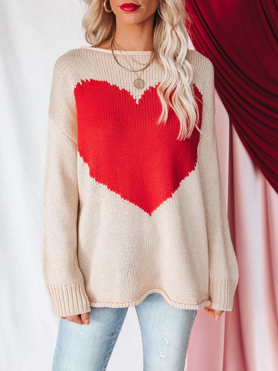 Red Love Heart Knitted Sweater