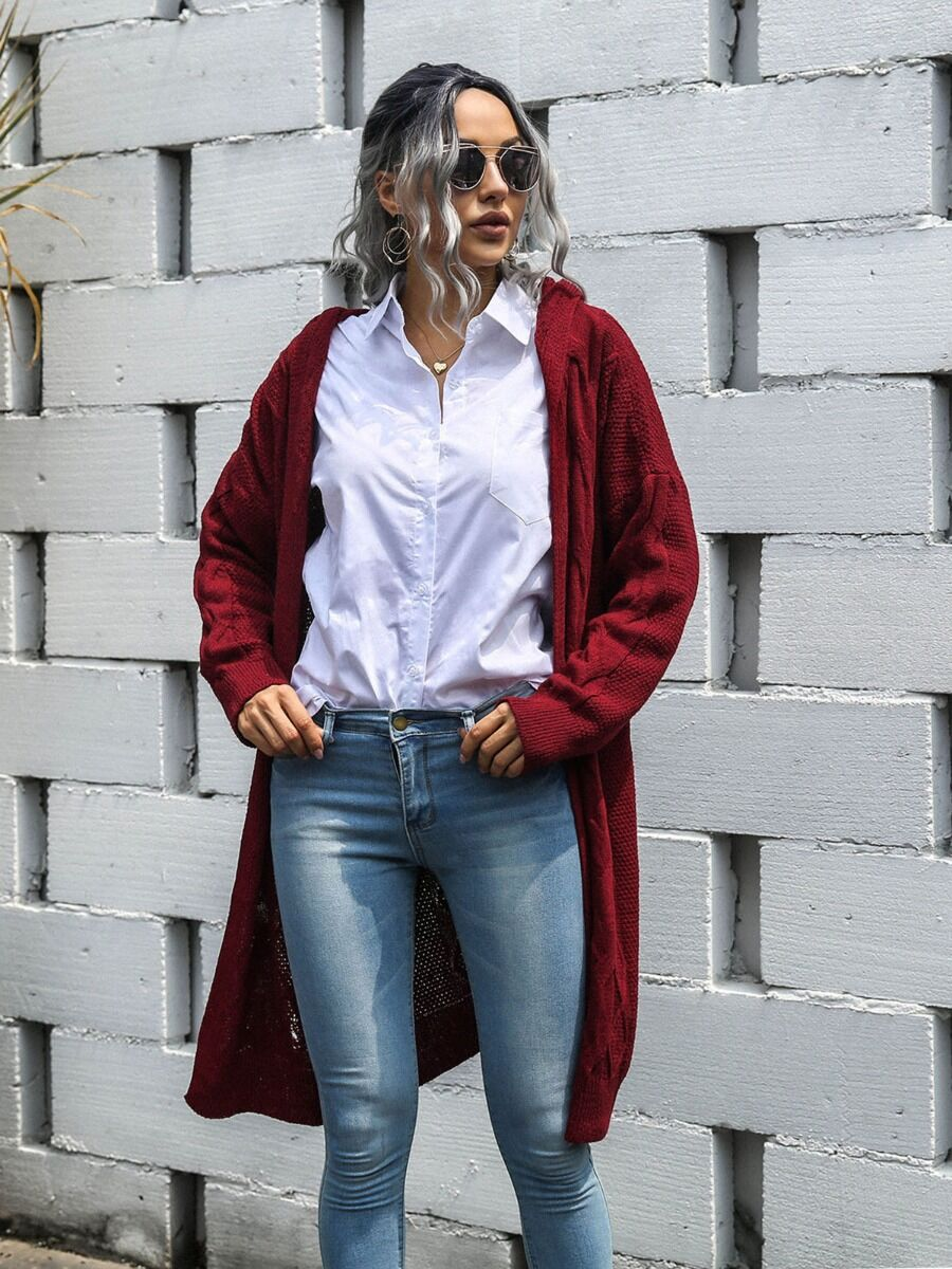shestar wholesale Solid Long-line Knitted Hooded fashion Cardigan