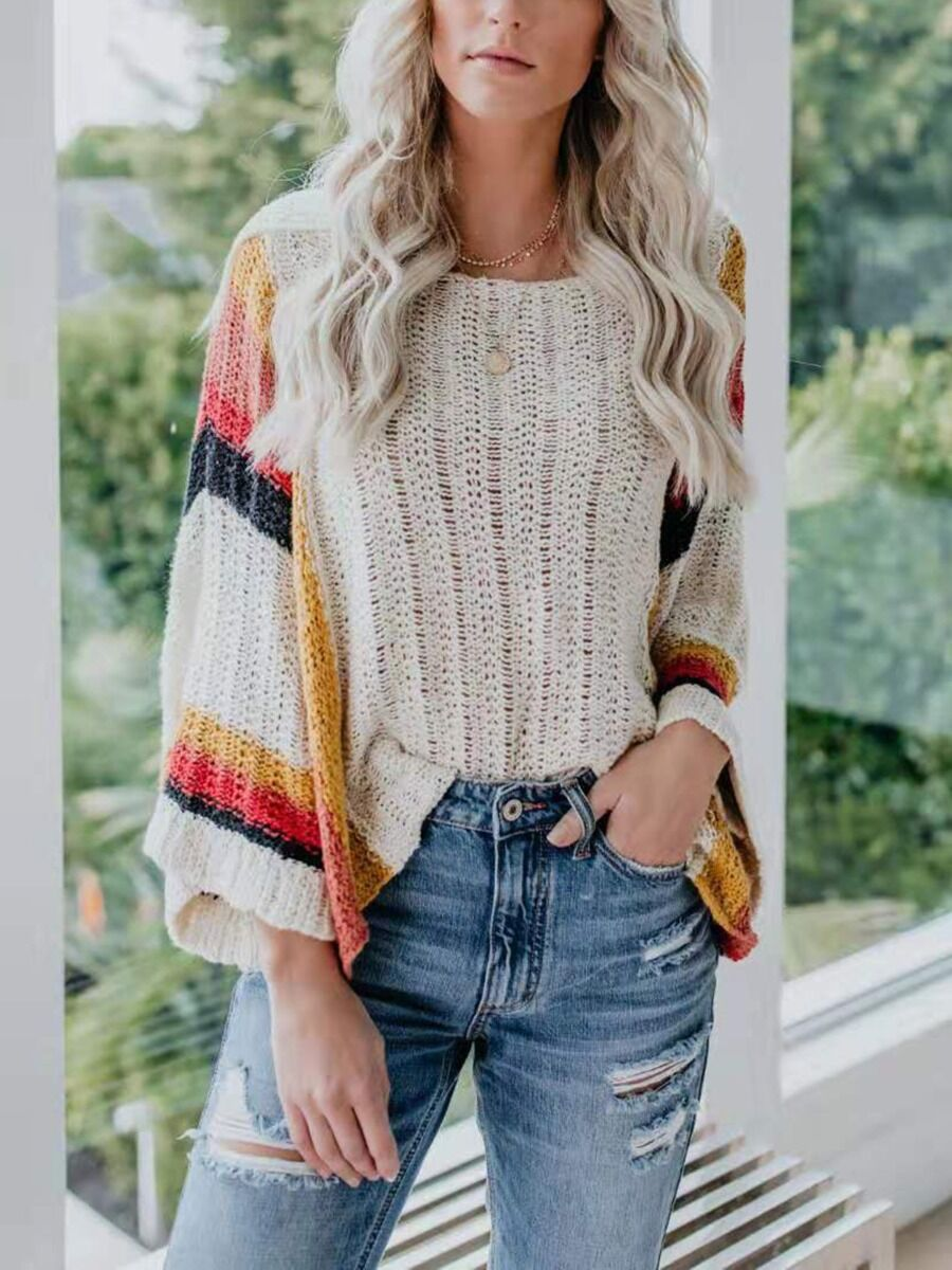 Drop Shoulder Rainbow Stripe Knit Smock Top