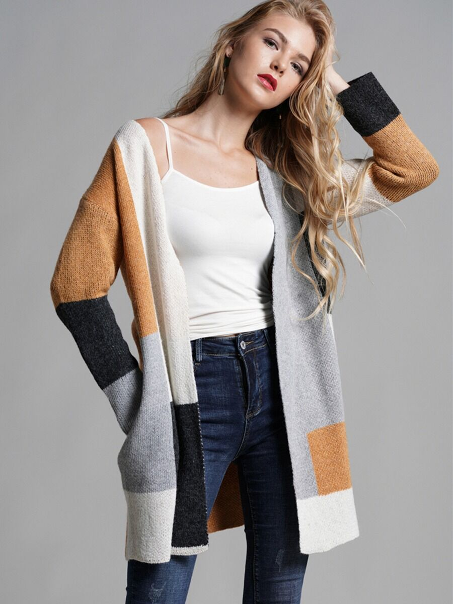 Women Color-block Knitting Cardigan