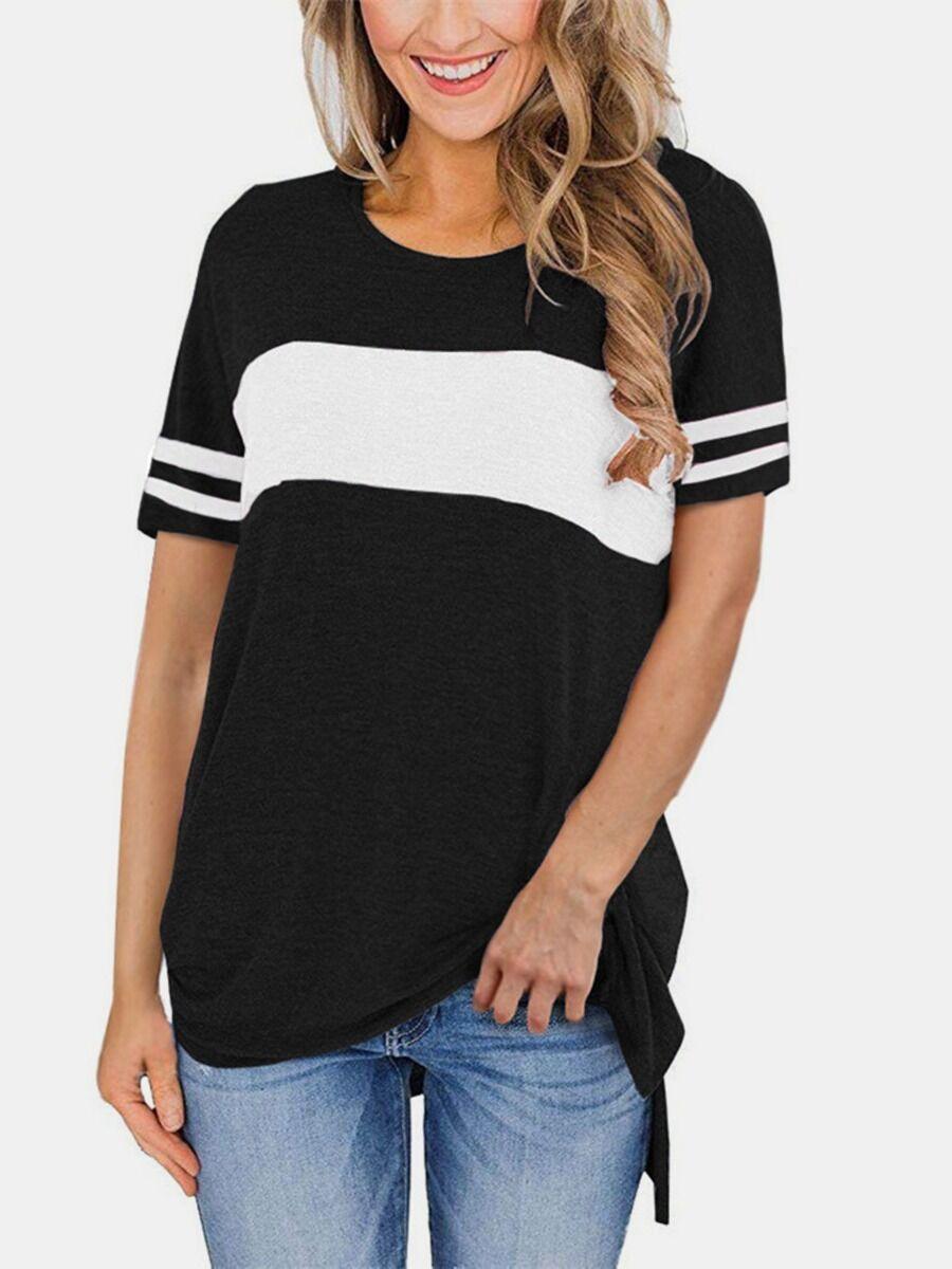 Color Blocking Slit Crewneck T-shirt