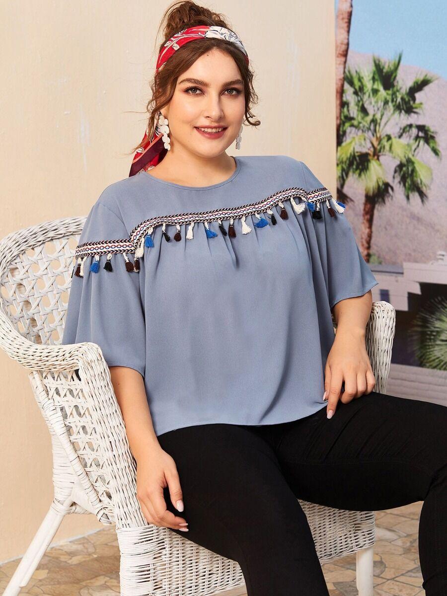 shestar wholesale Plus Size Flutter Sleeve Tassel fashion Blouse