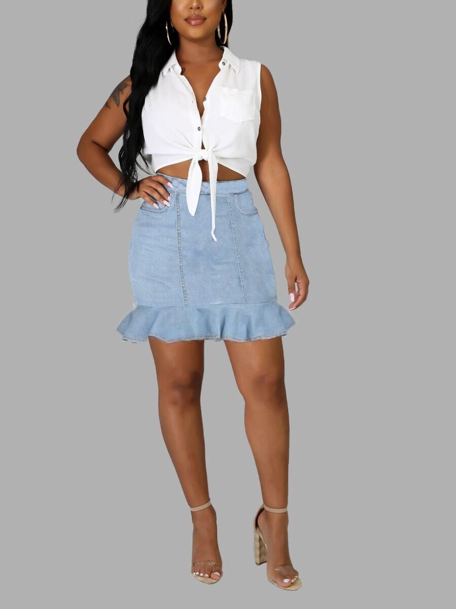 shestar wholesale Ruffle Hem Fitted fashion Denim Skirt