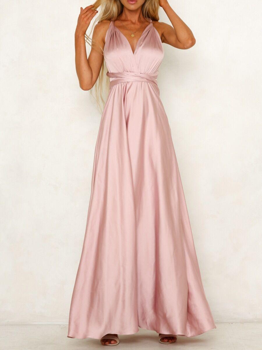 shestar wholesale deep v-neck plain party halter maxi dress
