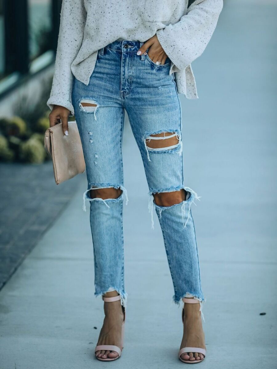 shestar wholesale Straight Leg Ripped Distressed Jeans