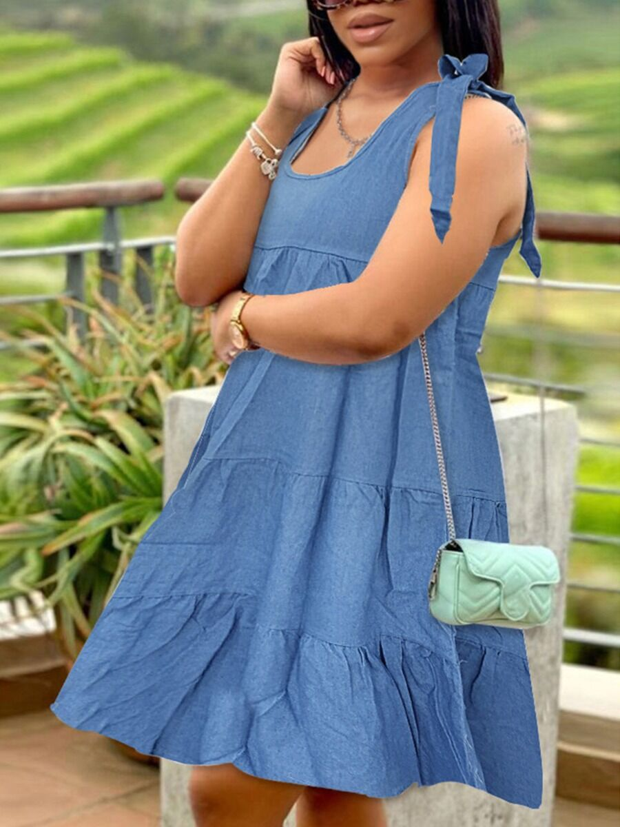 shestar wholesale Bowknot Shoulder Denim Flare Dress