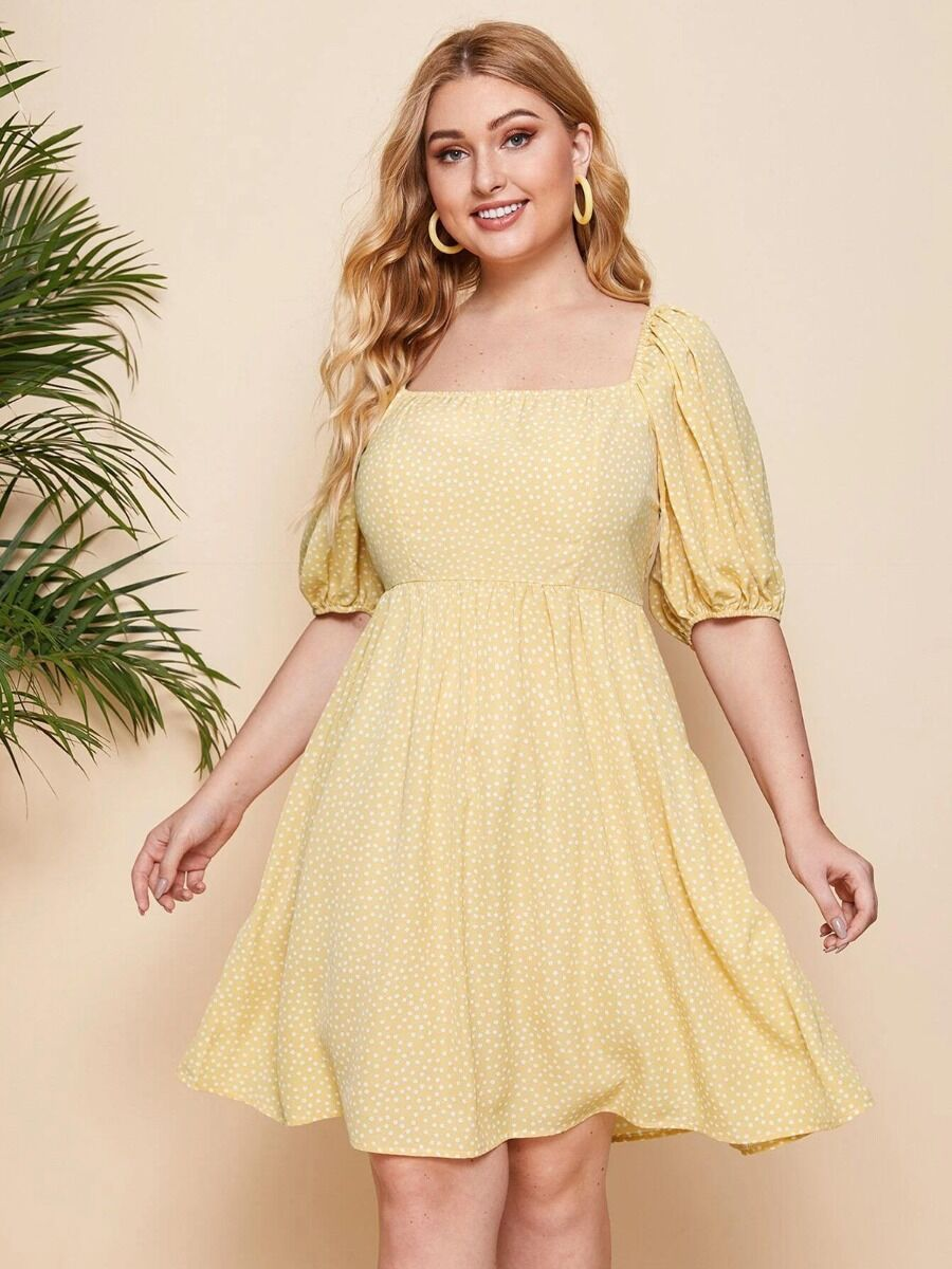 shestar wholesale Plus Size Dresses Puff Sleeve Square Collar Ditsy Floral Dress