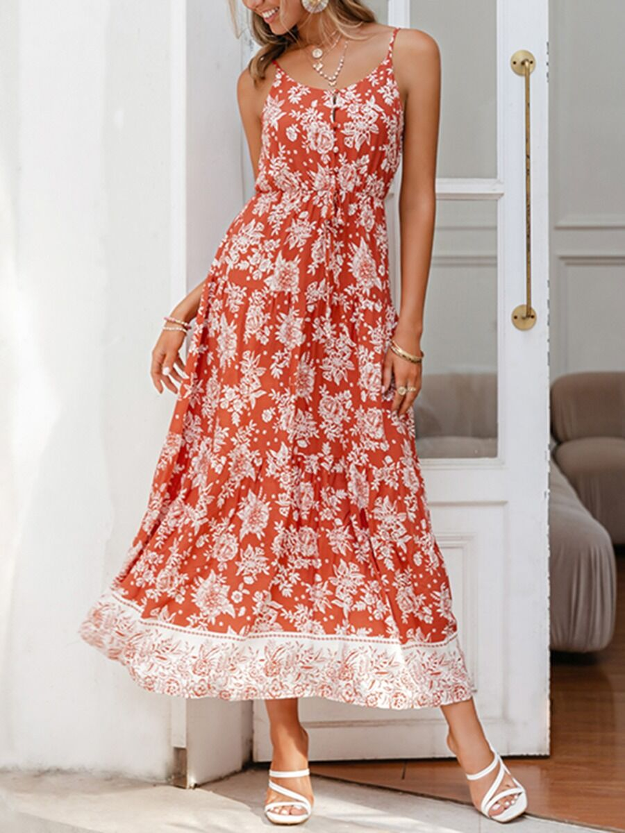 shestar wholesale Button Front Tie-up Flower Print Suspend Maxi Dress