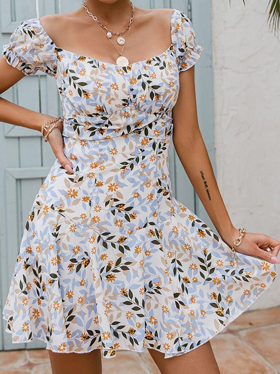 shestar wholesale Puff Sleeve Floral Print A-line Dresses