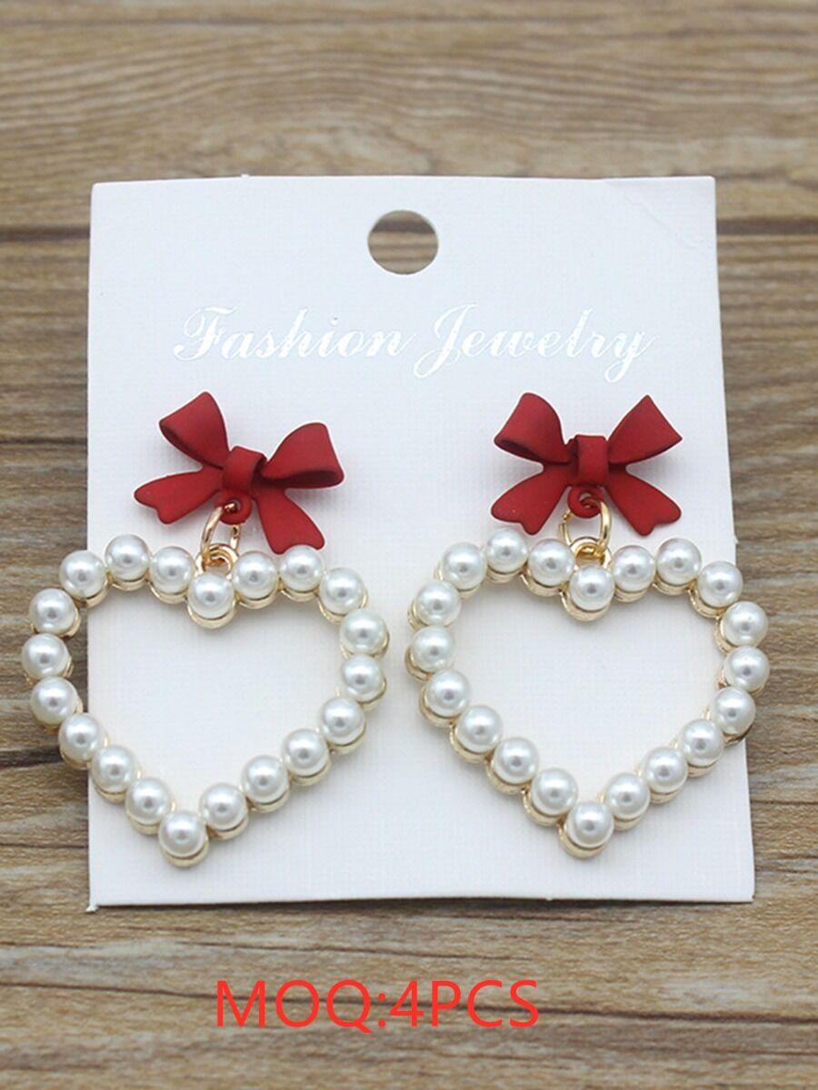 shestar wholesale Pearls Beaded Bowtie Trim Love Heart fashion Earrings