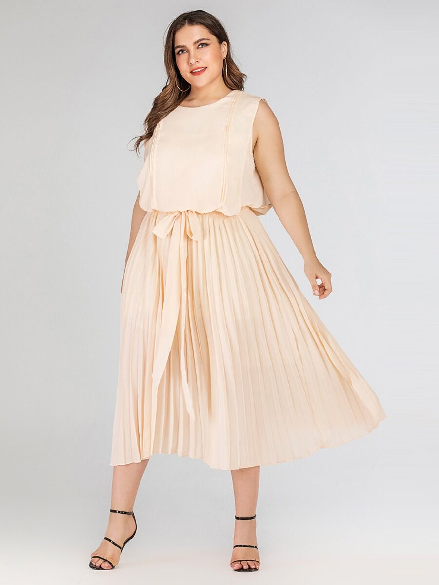 shestar wholesale Plus Size Bow Tie Waist Ruched Chiffon Dress