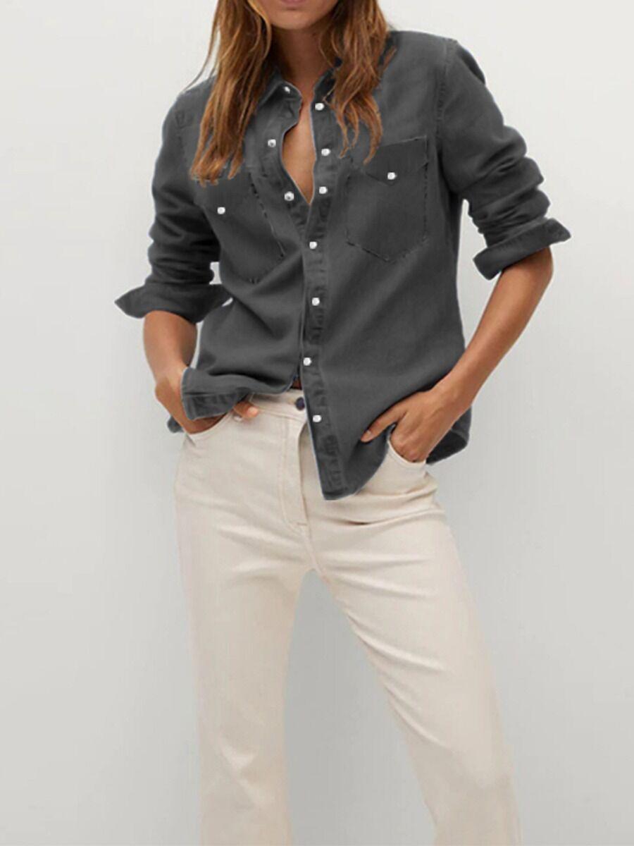 shestar wholesale Single Breasted Buckle Pocket Denim Shirt