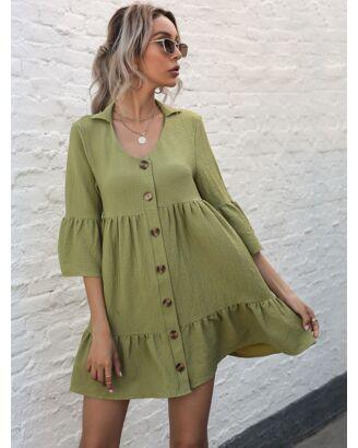 Lapel Neck Flare Sleeve Frilling Shirt Dress