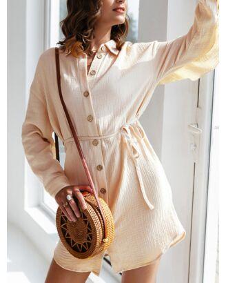 Single Breasted Belted Ruffle Shirt Dress