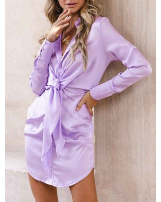 Solid Color Button Down Knotted Shirt Dress
