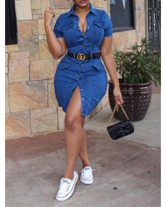 Single-breasted Pocket Denim Shirt Dress Without Belt