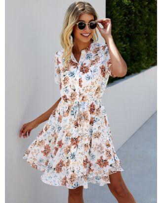 Crew Neck Button Detail Flower Print Lace-up Shirt Dress