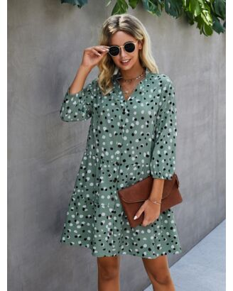 V Neck Single-breasted Polka Dot Print Shirt Dress