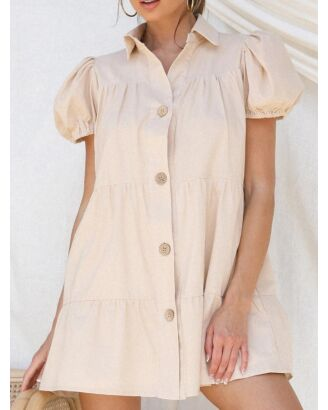 Solid Color Puff Sleeve Single Breasted Shirt Dress