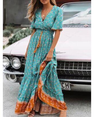 Bohemian Pom Pom Trim Flower Print Layered Ruffled Maxi Dress