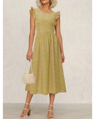 Bohemian Fungus Sleeve Floral Dress