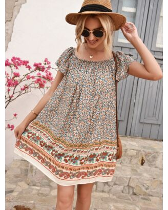 Bohemian A-line Collar Flutter Sleeve Floral Dress