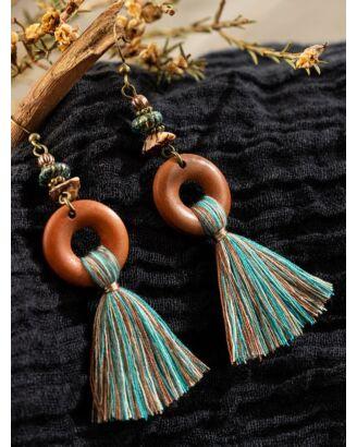 Bohemian Beaded Circle Tassel Drop Earrings