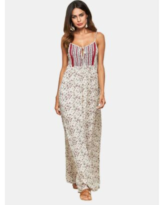 Bohemian ColorBlocking Backless Tie Up Flower Print Sling Maxi Dress