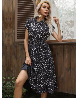 POLO Neck Polka Dot Print Pleated stitching Lace-up Shirt Dress