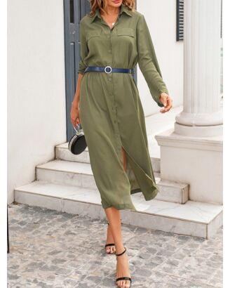Solid Color Lapel Collar Long Sleeve Side Split Shirt Dress With Button Belt