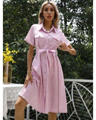 Lapel Collar Single-breasted Pocket Decor Lace-up Flower Print Shirt Dress