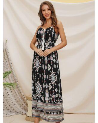 Women's Geometric Print Tassel Cami Maxi Dress