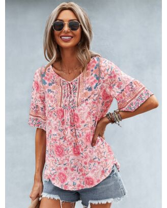 Bohemian V-neck Tie Up Hollow All-over Print Top