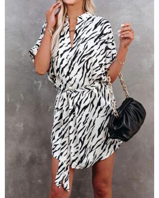 Curved Hem SurpliceNeck Lace-up Waist  Zebra Stripe Dress