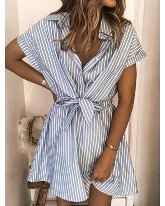 Striped Single Breast Short Sleeve Shirt Dress blue